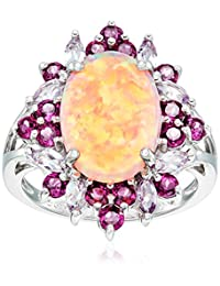 Sterling Silver Created Pink Opal, Pink Amethyst and Rhodolite Ring, Size 7