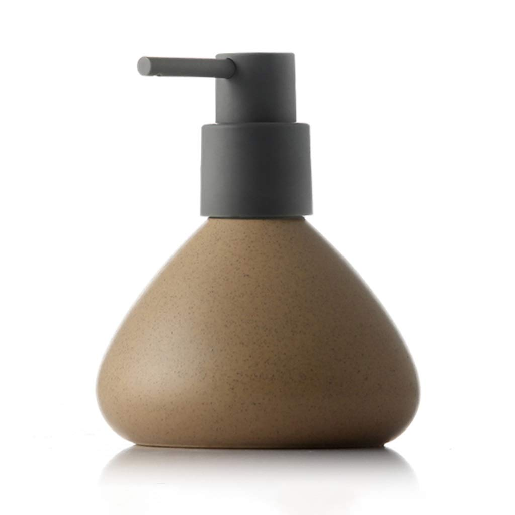 LNNA 280ml Small Capacity Ceramic Soap Dispenser, 2cc Bathroom Toilet Liquid Lotion Empty Bottle Container, with ABS Rubber Paint Pump Head,10x13.5cm (Color : Brown Tea)