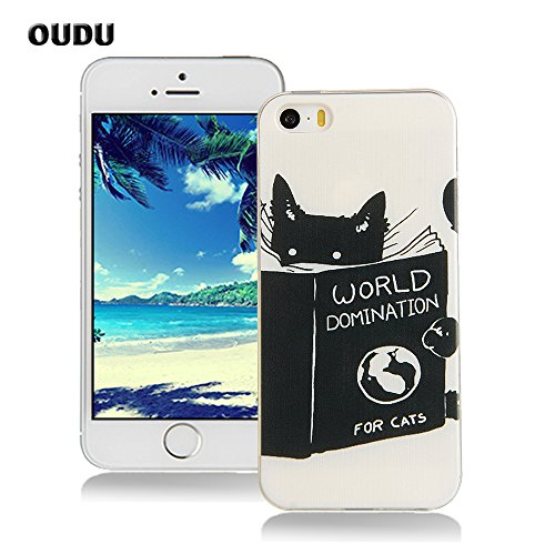 OuDu Silicone Case for iPhone 5/5S Soft TPU Rubber Cover Flexible Slim Case Smooth Lightweight Skin Ultra Thin Shell Creative Design Cover - World Domination for Cats