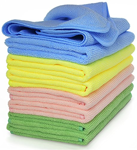 (VibraWipe Microfiber Cleaning Cloths, 4 Colors, 8-Pieces. Highly Absorbent, Lint and Streak Free, for Kitchen, Car, Window)