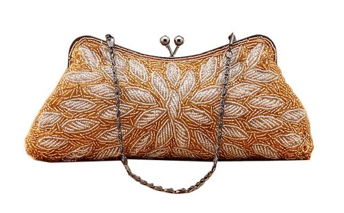 Chicastic Beaded Bridal Wedding Evening Cocktail Clutch Purse With Chain String – Gold, Bags Central