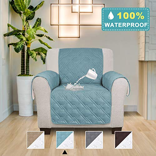 - 100% Waterproof Furniture Slipcover Pets Friendly Quilted Furniture Protector Premium Cotton Like Sofa Chair Covers with Anti-Skip Dog Paw Print Backing, (Seat Width: 30