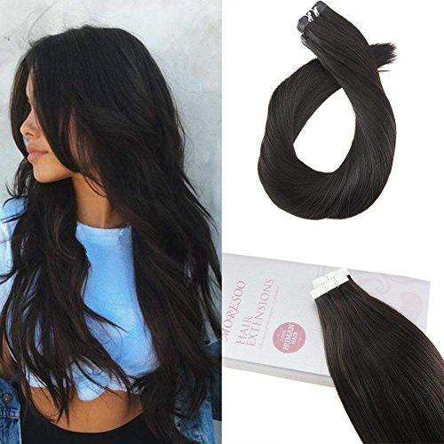 Moresoo 22 Inch Tape in Hair Extensions Remy Hair Color Off Black 1B 50g 20pcs Per Package Straight Unprocessed Remy Human Hair Seamless Skin Weft Glue on Hair Extensions