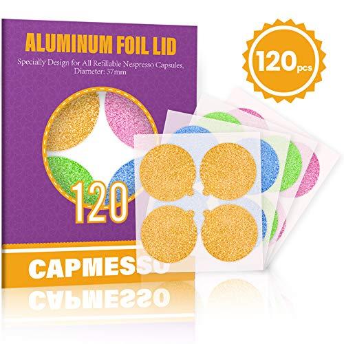 CAPMESSO Espresso Foils -Coffee Pod Seal Lids to Reuse Capsules Compatible with Nespresso Original Line Machines 120PCS/Package