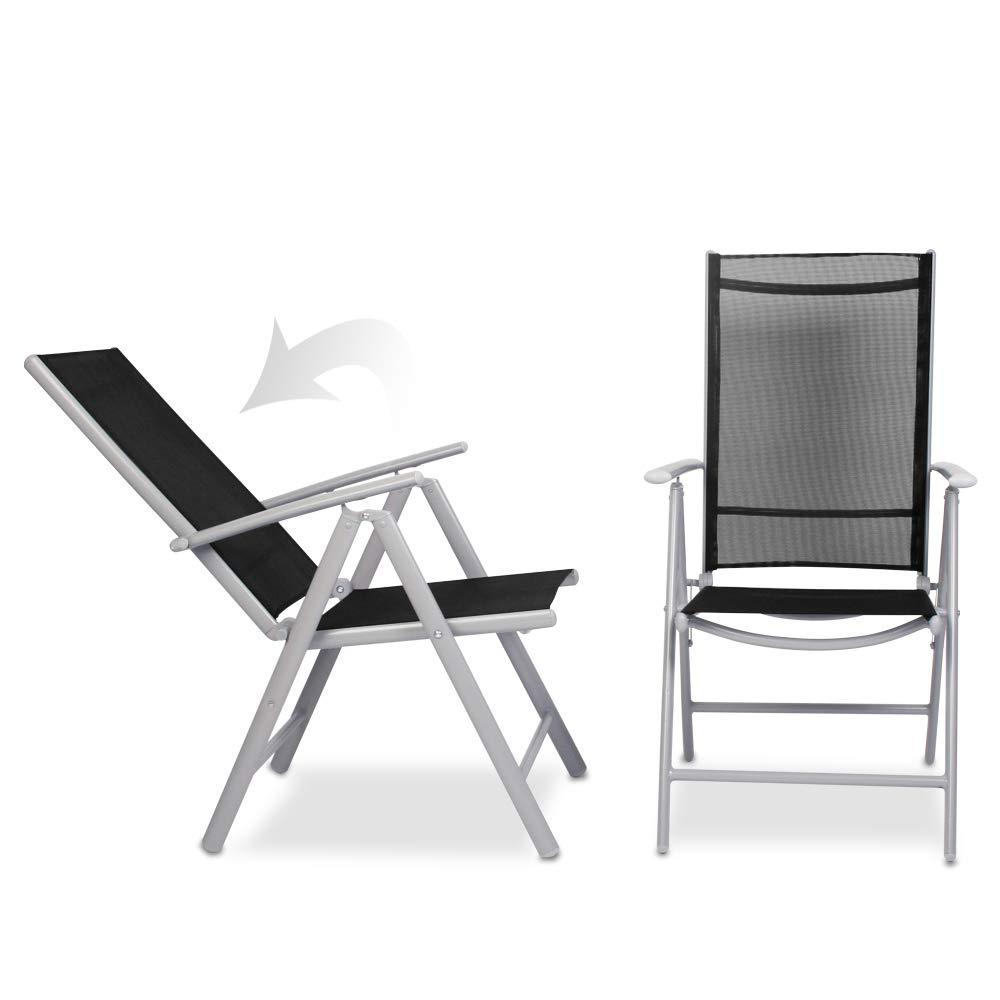 Juego de Aluminio Sillas de Jardín - Plegable, con Reposabrazos, Respaldo Ajustable - Silla para Exterior Balcón Camping Festival (Juego de 4, Gris ...