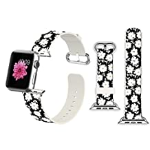 38mm Apple Watch Band Soft Leather Sport Style Series 2 Series 1 Men Women Wrist Strap Replacement - Small fresh white daisies Woman