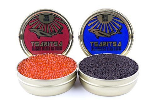 LIMITED TIME OFFER! Caspian Tradition RUSSIAN Style TSARITSA FRESH Salmon & Bowfin Malossol CAVIAR 2 x 8oz tins by Tsaritsa (Image #1)