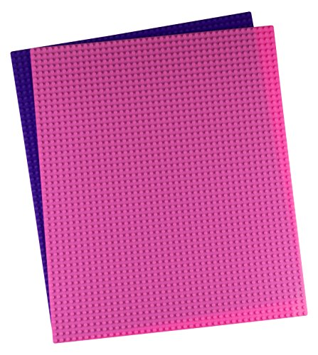 Strictly Briks Classic Baseplates for Building Bricks by 100% Compatible with Major Brands | Building Bases for Tables, Mats and More! | 2 Pink and Purple Base Plates 15.75