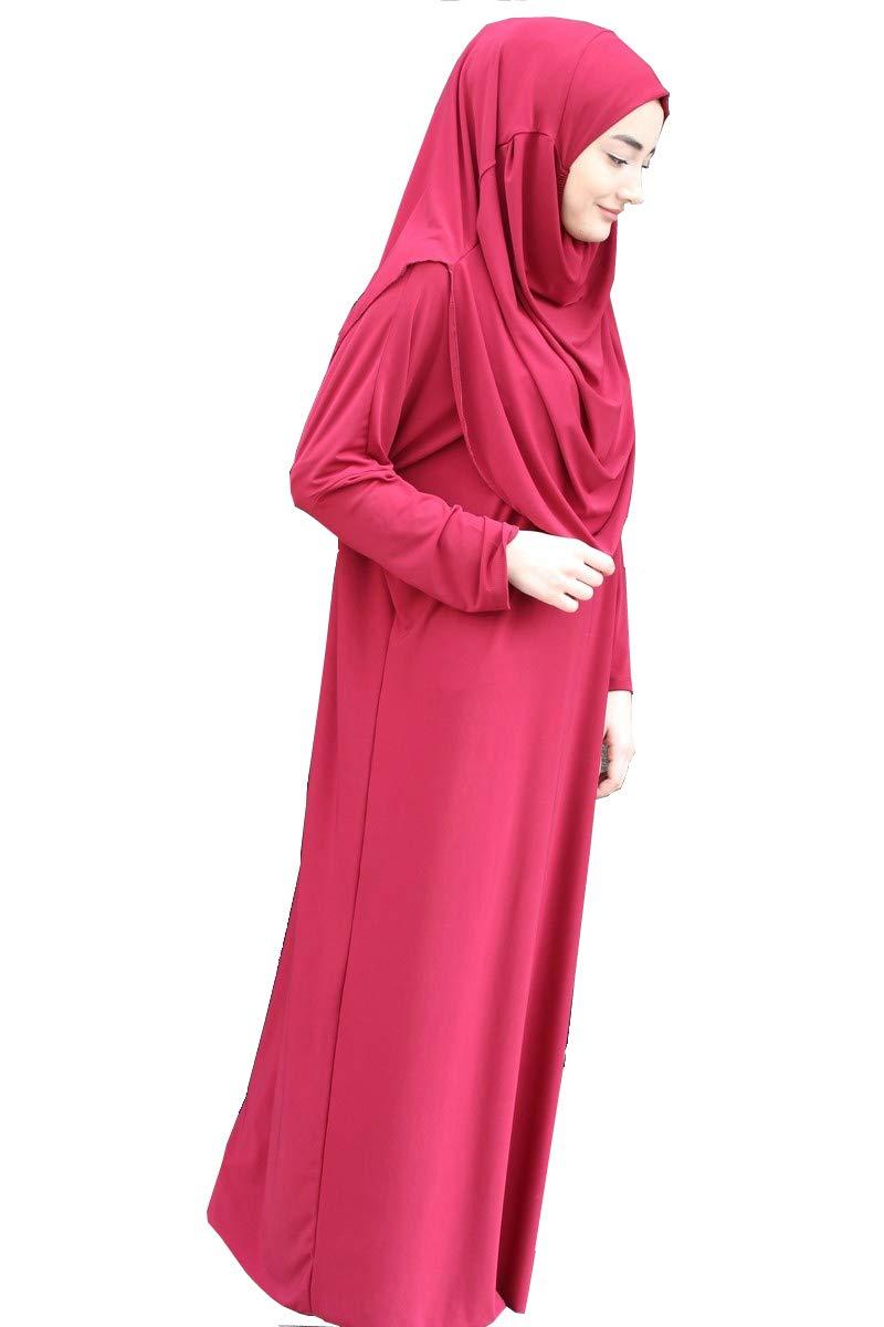 Muslim Women's One-piece Prayer Dress Abaya Ihram Set for Hajj Umrah (BURGUNDY)