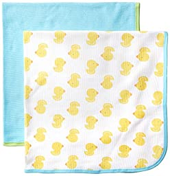Gerber Unisex-Baby Newborn 2 Pack Neutral Thermal Blanket, Yellow, One Size
