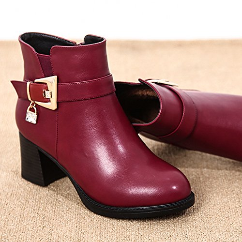 KHSKX-Mother Winter Boots Shoes Children Shoes. Short Boots With Cashmere In Autumn And Winter. Middle Aged And Middle-Aged Women Shoes Claret