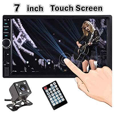 Double Din Car Stereo, Ewalite 7 inch Touch Screen In Dash Car Radio Receiver Audio Video Player Supports Bluetooth FM Mp3 MP5 / TF/USB / AUX/with Rear View Camera + Remote Control