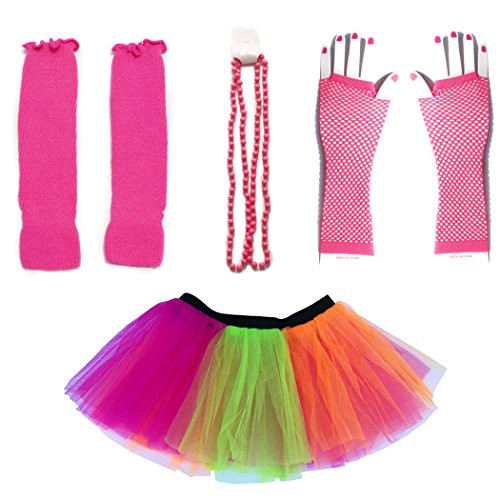 Dreamdanceworks 80s Fancy Costume Set - TUTU & LEG WARMERS & FISHNET GLOVES & BEADS (Rainbow) (Neon Tutu For Women)