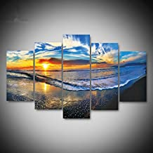 Sykdybz Modern 5 Spell Sea Sunset Scenery Frameless Canvas Decorative Painting Living Room Wall Paintings,30X40 30X60 30X80Cm