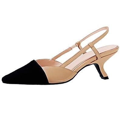 QSCG Frauen Kitten Heel High Heel Bow Lace up Spitz Stiletto Sandalen Hochzeit Schuhe