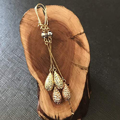 TousiAttar Tear Drop Diamond Cut Earrings - 14k Gold Tri Color Drop and Hanging Earring for Women and Girlfriend - Unique Fine Jewelry Gift