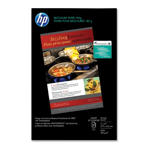 HP Brochure Paper for Inkjet Printer, Glossy, 11x17, 150 Sheets