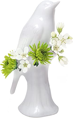 Chive – Unique Ceramic Bird Vase, Small Bud Vase for Short Flowers Like Mini Roses, Decorative Floral Vase for Home D cor and Flower Arranging, Perfect Table Vase for a Single Flower Glossy White