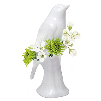 Amazon chive white porcelain bird decorative flower vase chive white porcelain bird decorative flower vase bud vase for short flowers glossy mightylinksfo