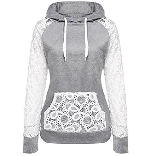 Womens Sweatshirt,FUNIC Women Lace Patchwork Hooded Sweatshirt Pullover Hoodie Coat Outerwear Tops (S, Gray)