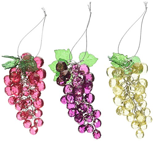 Kurt Adler 4-Inch Beaded Grapes Ornament, Set of 3 (Ornament Glass Fruit)