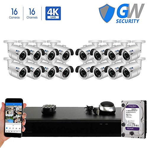 GW 16 Channel H.265 PoE NVR Ultra-HD 4K 3840×2160 Security Camera System with 16 x 4K 8MP 2160p IP Camera, 100ft Night Vision, Outdoor Indoor Surveillance Camera