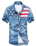 AvaCostume Fashion Men's Short Sleeve Casual Soft-Wash Denim Shirt, DarkBlue, M