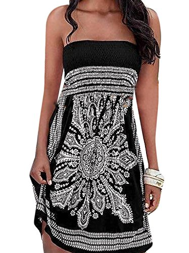 WANSHIYISHE Women's Summer Strapless Dress Floral Print Island Sundress Black US S