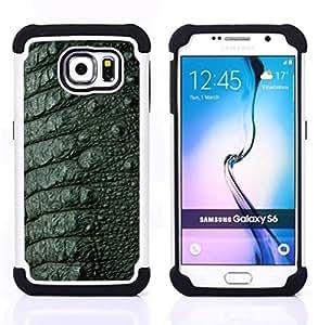 For Samsung Galaxy S6 G9200 - Skin Texture Design Style Green Interior /[Hybrid 3 en 1 Impacto resistente a prueba de golpes de protecci????n] de silicona y pl????stico Def/ - Super Marley Shop -