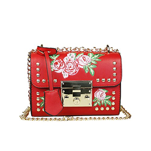 broderie Feminina messager PU bandoulière cuir en Femmes sac red dames sacs Sac à rabat Haoling rivet petit sac mode fleur 75wAvx