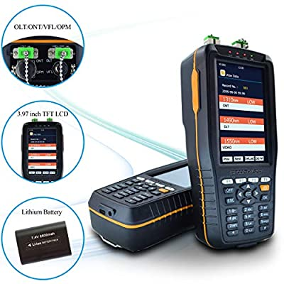 SPEEDWOLF 1310/1490/1550nm Portable PON Optical Power Meter, Handheld PON Optic Fiber Cable Tester Tool with 10km 650nm VFL and 850~1625nm Fiber Optic Power Meter for GPON and EPON Network