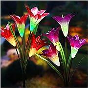 #LightningDeal Solar Lights Outdoor - New Upgraded Solar Garden Lights, Multi-Color Changing Lily Solar Flower Lights for Patio,Yard Decoration, Bigger Flower and Wider Solar Panel(2 Pack)