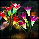 Tonulax Color-Changing Lily Solar Flower Garden Stake Lights (2pack)