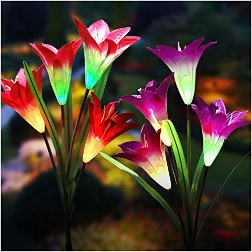 Solar Lights Outdoor - New Upgraded Solar Garden Lights, Multi-Color Changing Lily Solar Flower Lights for Patio,Yard Decoration, Bigger Flower and Wider Solar Panel (2 Pack,Purple and Red)]()