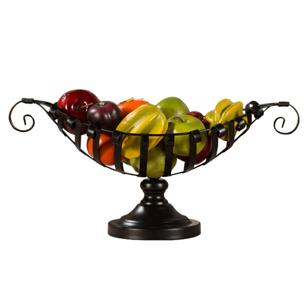 クリエイティブメタル中空フルーツトレイフルーツバスケットプレートフルーツ皿フルーツラックキッチンリビングルームの装飾 (色 : 黒)  黒 B07NQ291J3