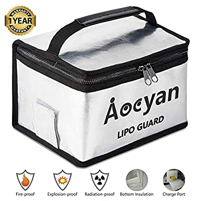 Aocyan Fireproof Lipo Safe Bag Lipo Battery Charge Bag for Lipo Charging and Storage, Exclusive Charge Port & Bottom Insulation, Explosionproof Double Metal Zipper Large Bag (210×160×130mm)