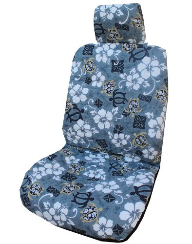 Hawaiian Gray Aloha Hibiscus Separate Headrest Car Seat Covers by Winnie Fashion