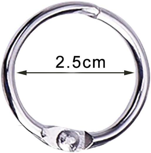 25mm-40Pack 40 Pack 1 Inch Diameter Book Loose Leaf Binder Rings Key Keychain Rings