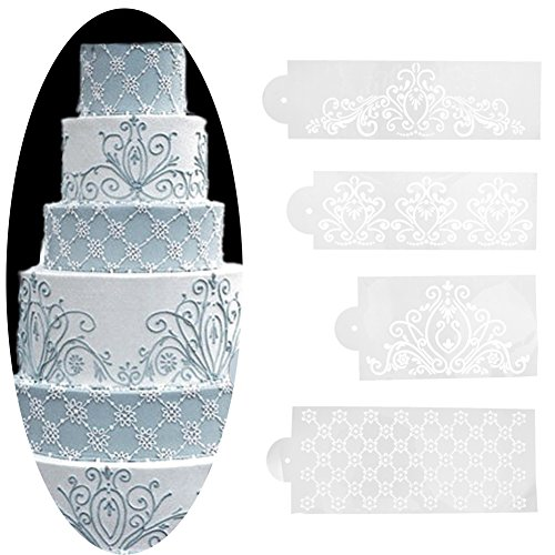 JD Million shop Plastic 4PCS/Set Template Mold Baking Tool Princess Lace Cake Cupcake Cookie Stencil Fondant Cake Border Stencil Decoration Set