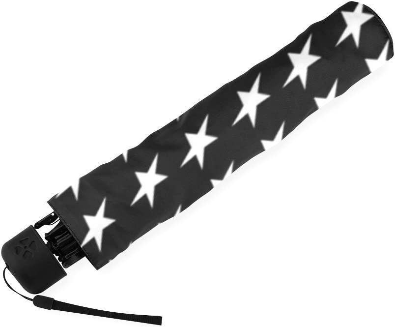 American Flag Black and White Blue Line US Compact Foldable Rainproof Windproof Travel Umbrella