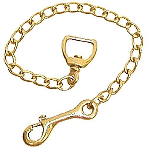(Partrade Basic Brass Plaited Stud Training Chains Wide Swivel Eye for Horses 30