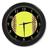 Yellow-Softball-Super-Soft-Plush-Queen-Size-Custom-Photo-Wall-Clock-965-inch
