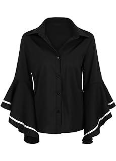 fddeeea0e7671 Romacci Women Shirt Flare Sleeve Turn Down Collar 3 4 Sleeve Buttons Top  Loose Blouse