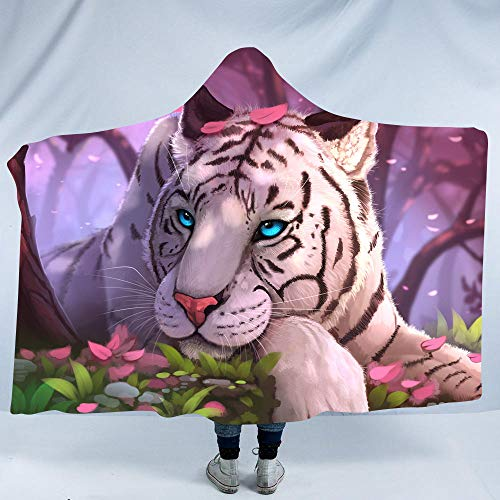 Designer Creative 3D Colorful Dream Tiger Series Wild Animal Printing Luxuy Thickened Hypoallergenic Sherpa Fleece Blanket Ultra Soft and Warm Winter TV Computer Throwing Blanket for Adults & Kids (Fleece Throw Blanket Series)