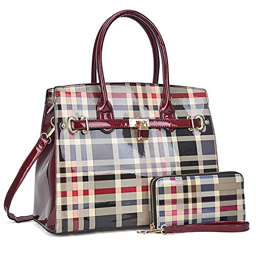 Women Patent Leather Purses and Handbags Ladies Tote Bag Padlock Shoulder Bag Top Handle Satchel with Wallet (Plaid- Red) ()