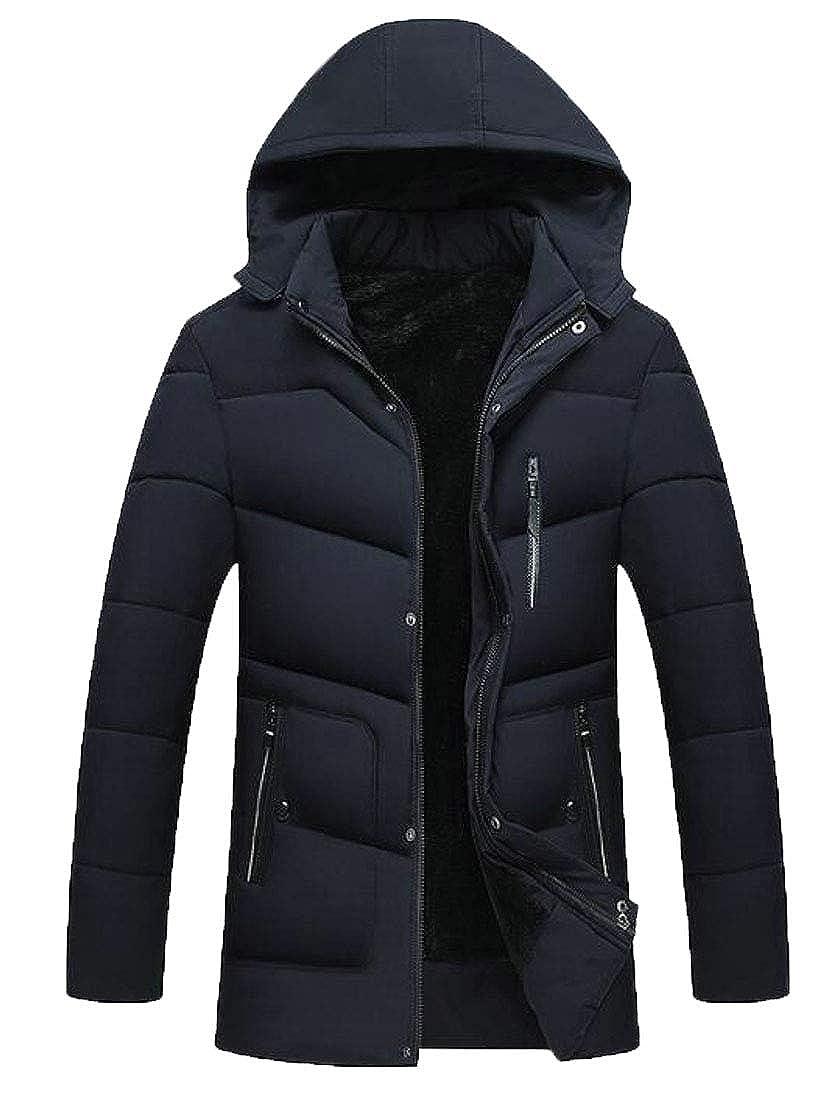 Bigbarry Mens Hooded Winter Puffer Zip-Up Fleece Parka Jackets Coat