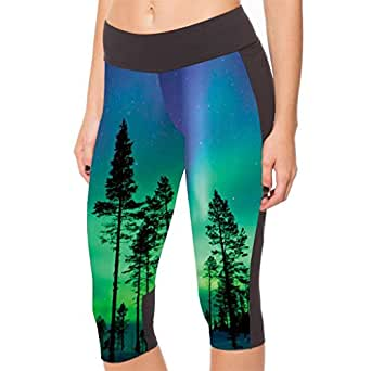 Lady Queen Women's Trees Knee Length Athletic Capri Pants Tight Running Shorts S Green