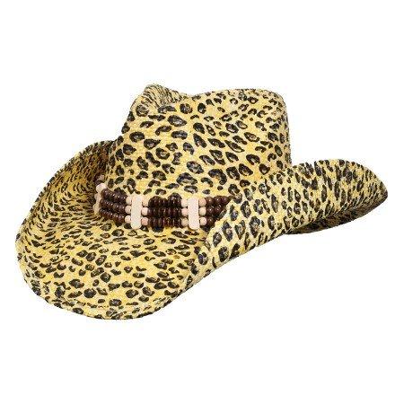 [Leopard Fashion Western Straw Hat] (Leopard Cowboy Hat)