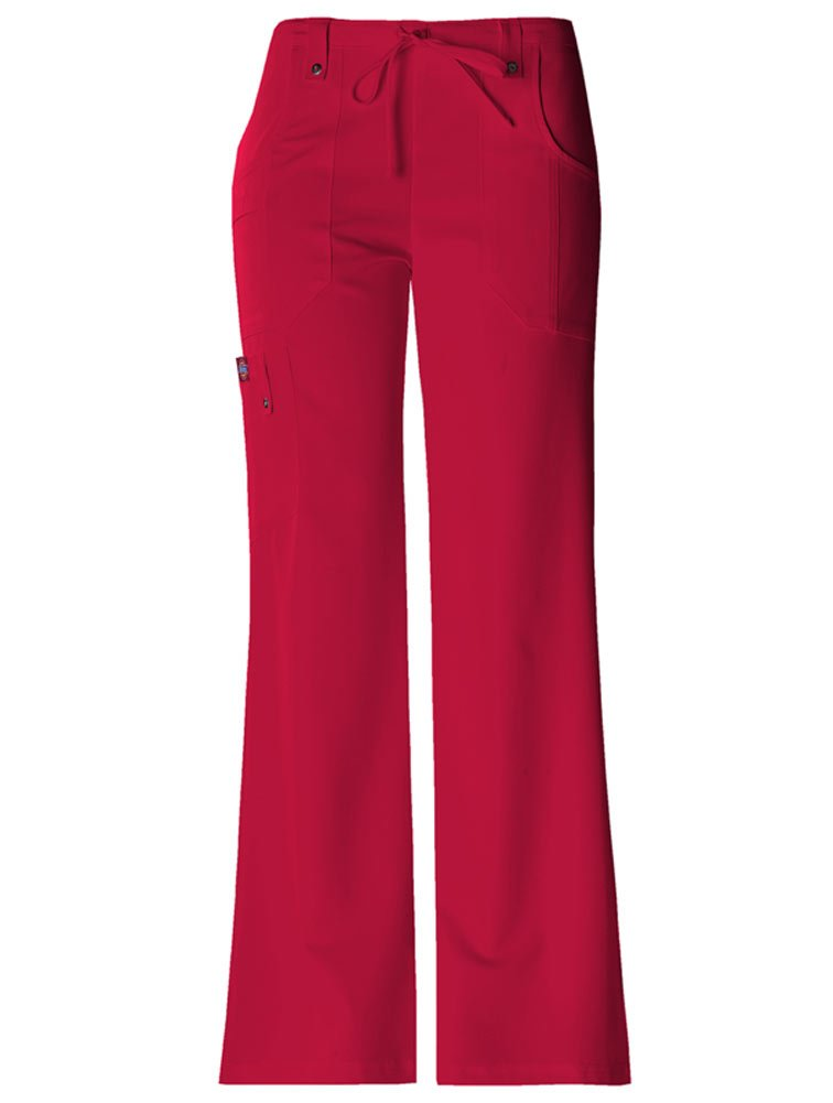 Dickies Women's Xtreme Stretch Fit Drawstring Flare Leg Pant, Red, X-Large/Tall