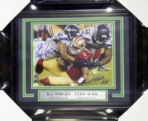 Cliff Avril & K.J. Wright Signed Framed 8x10 Photograph Seattle Seahawks MCS Holo Stock #107786 - Autographed Photo